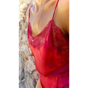 Vintage Kayser Lace Bodysuit in Red